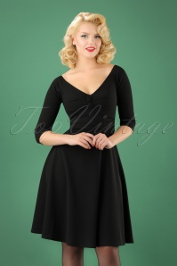 50s Leonie Swing Dress in Black
