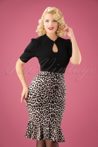 Vintage Chic Leopard Print Marcella Fabric Pencil Skirt 120 58 22504 20170918 00`1W