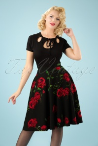 50s Tracy Roses Swing Skirt in Black