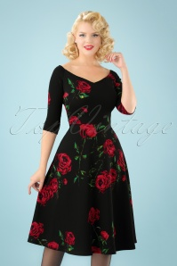50s Janis Roses Swing Dress in Black