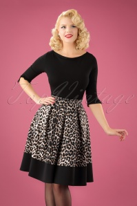 Vintage Chic Leopard Print Marcella Fabric Swing Skirt 122 58 22591 20170918 0002W1