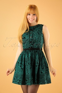 50s Sherwood Mini Dress in Petrol Green