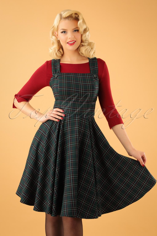 40s Peebles Pinafore Tartan Dress In Green