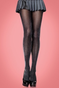 50s Shanna Sparkling Tights in Black and Silver