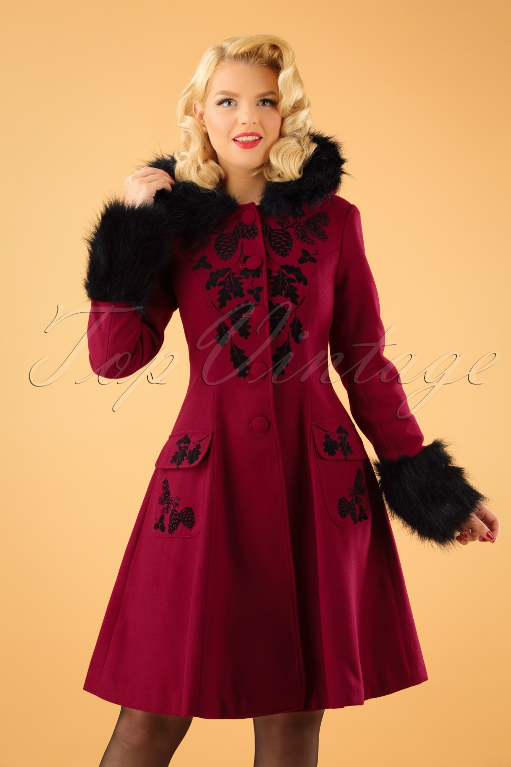1950s Jackets and Coats | Swing, Pin Up, Rockabilly 50s Sherwood Coat in Burgundy and Black £127.63 AT vintagedancer.com