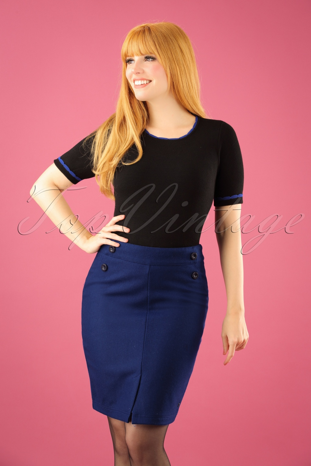Retro Skirts: Vintage, Pencil, Circle, & Plus Sizes 60s For Your Love Pencil Skirt in Blue £71.06 AT vintagedancer.com