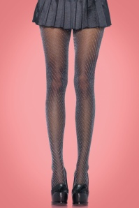 50s Zig Zag Sparkling Tights in Black and Silver