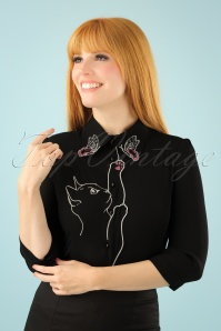 60s Snow Bird Blouse in Black