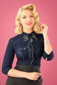 Banned Retro 60s Snow Bird Blouse in Night Blue