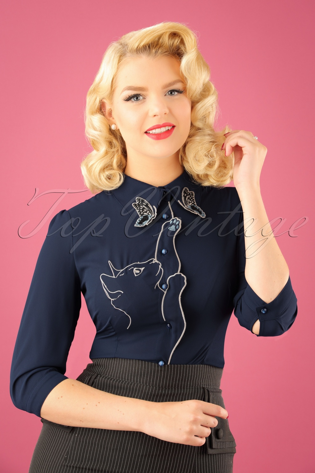 Vintage & Retro Shirts, Halter Tops, Blouses 60s Snow Bird Blouse in Night Blue £35.56 AT vintagedancer.com