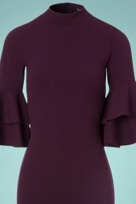 Vintage Chic Double Frill Purple Scuba Dress 100 60 22508 20171017 0002V
