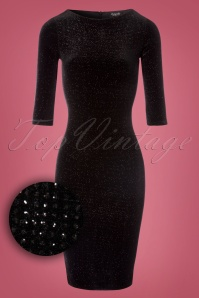 50s Gia Glitter Pencil Dress in Black Velvet