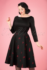 Collectif Clothing Delphine Music Noted Flared Dress in Black 22111 20170613 0016W