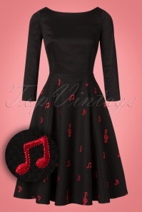 Collectif Clothing Delphine Music Noted Flared Dress in Black 22111 20170613 0007W1