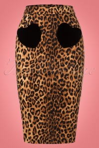 Collectif Clothing 50s Violetta Hearts Leopard Pencil Skirt 21902 20170606 0002W