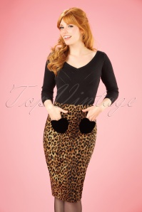 Collectif Clothing 50s Violetta Hearts Leopard Pencil Skirt 21902 20170606 01W