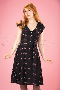 50s Violet Winter Flamingo Dress in Black