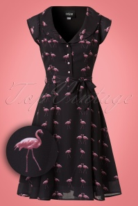 Collectif Clothing Violet Winter Flamingo Dress 21842 20170613 0007W1