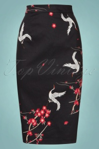 Collectif Clothing Polly Cranes Blossom Pencil Skirt 21899 20170606 00002W