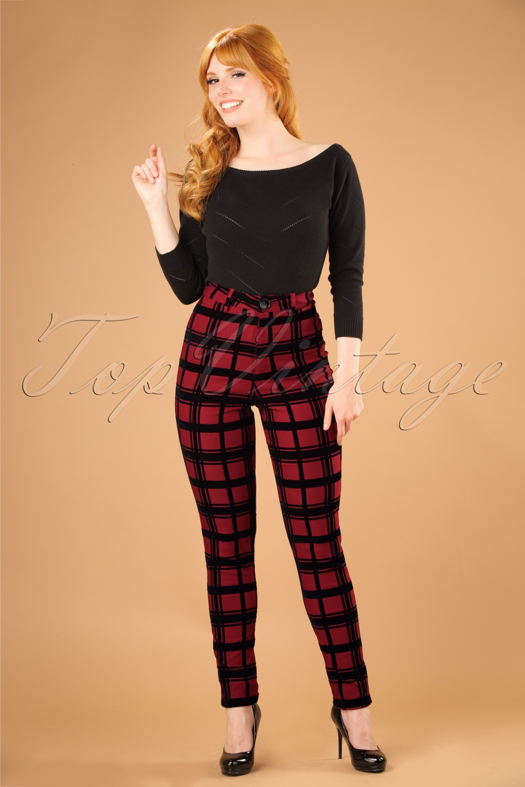 Vintage High Waisted Trousers, Sailor Pants, Jeans 50s Maddie Flock Check Trousers in Wine £51.51 AT vintagedancer.com
