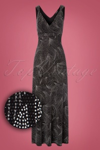 50s Gigi Glitter Maxi Dress in Black and Silver