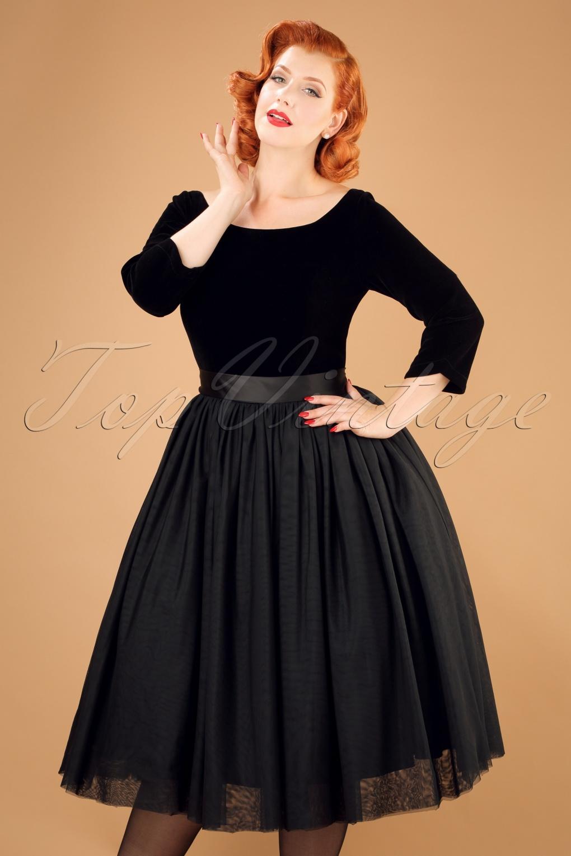 50s Amanda Party Swing Dress in Black