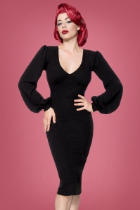 50s Bella Pencil Dress in Black