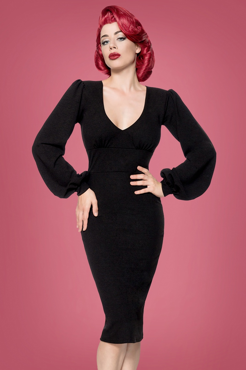 Rockabilly Dresses | Rockabilly Clothing | Viva Las Vegas 50s Bella Pencil Dress in Black £52.75 AT vintagedancer.com