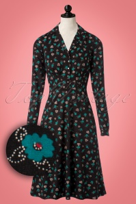 King Louie Diner Dress in Black with Blue Flowers 102 14 21408 20171011 0003wvdoll