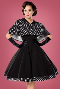 Bellissima  Polkadot Cape Black Swing Dress 102 14 23827 20171017 0015