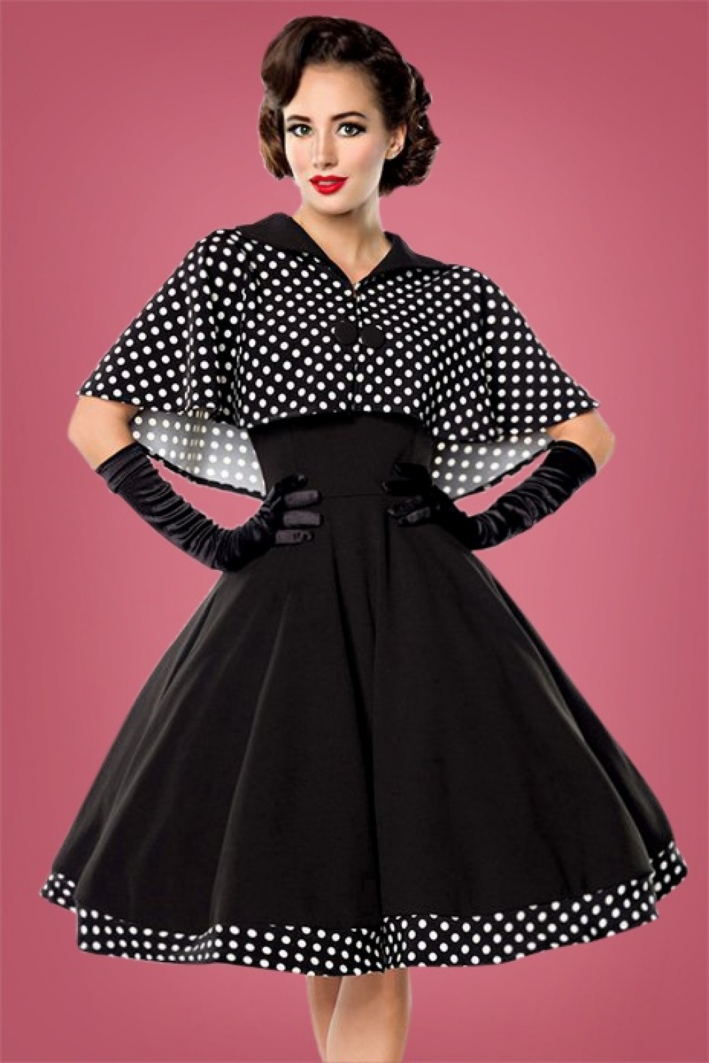 Vintage Polka Dot Dresses – Ditsy 50s Prints 50s Lesly Polkadot Cape Swing Dress in Black £55.95 AT vintagedancer.com