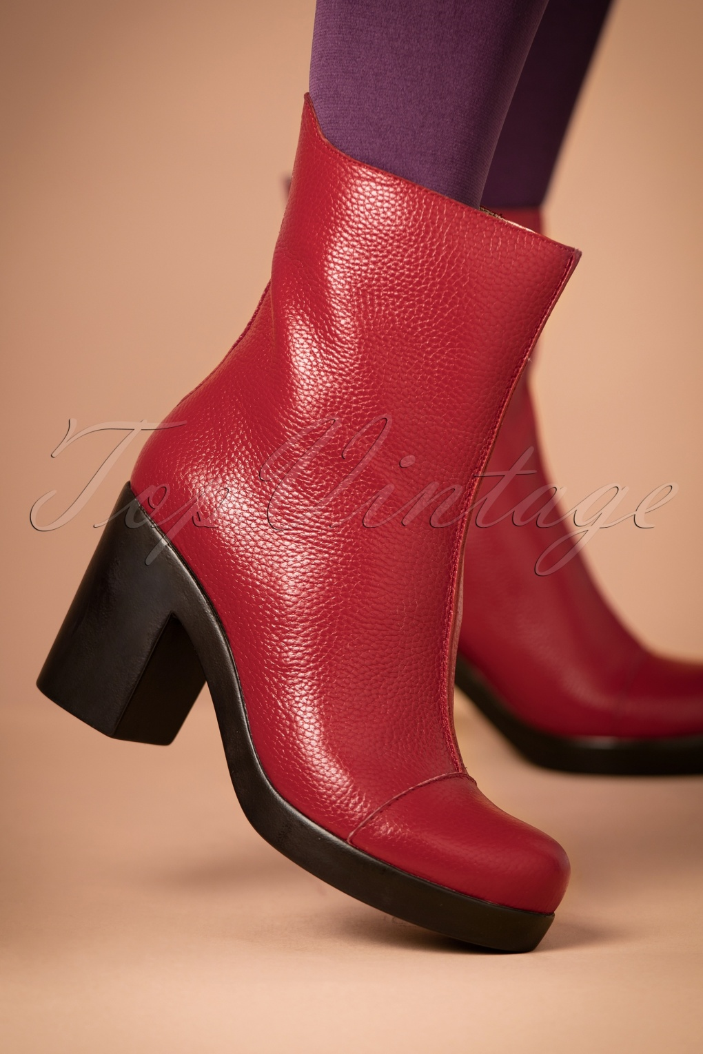 Retro Boots, Granny Boots, 70s Boots 70s Saker Lifestyle Booties in Red £151.06 AT vintagedancer.com