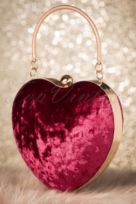 20s Lou Heart Clutch in Burgundy