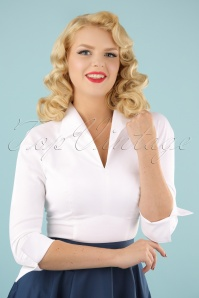 Lauren Top in White Sateen