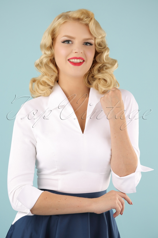 4b7a34245b1d86 Lauren Top in White Sateen