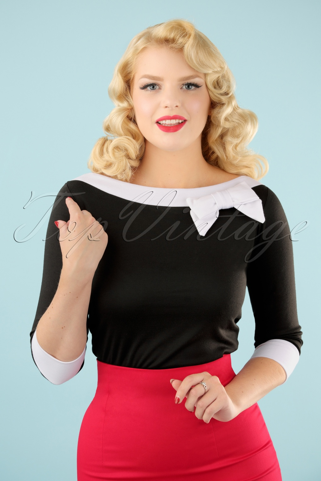 1950s Jackets and Coats | Swing, Pin Up, Rockabilly TopVintage Exclusive  50s Bianca Bow Boatneck Top in Black £42.62 AT vintagedancer.com