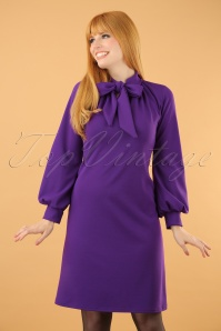 Vintage Chic Scuba Crepe Purple Tie Neck Dress 106 60 19624 20161031 0019W