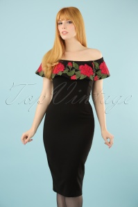 50s Maiko Geisha Tales Pencil Dress in Black