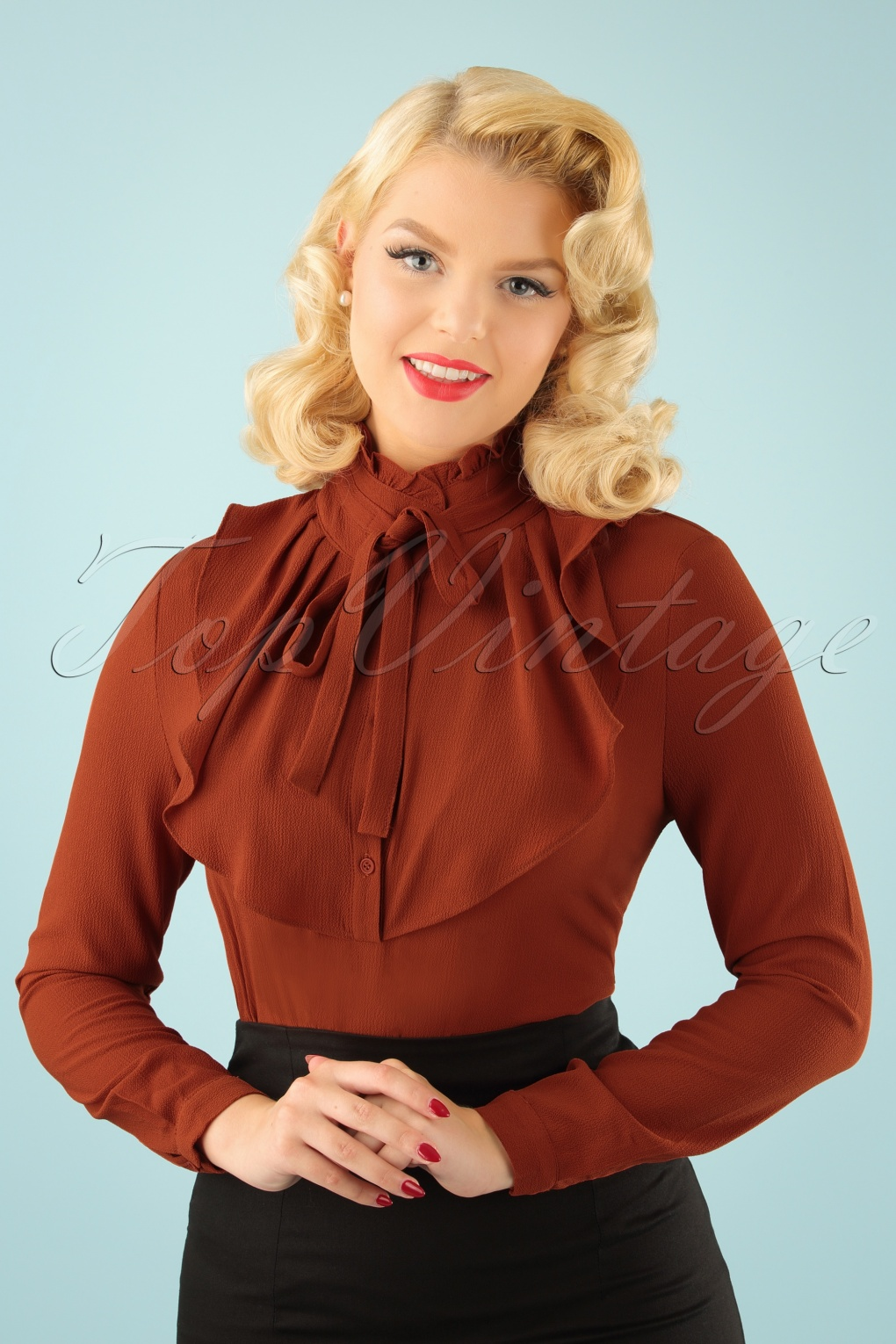 60s Shirts, Tops, Blouses | 70s Shirts, Blouses 70s Iris Blouse in Cinnamon £62.89 AT vintagedancer.com