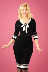 50s Leon Knitted Pencil Dress in Black and White