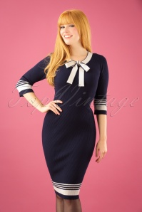 50s Leon Knitted Pencil Dress in Navy and White