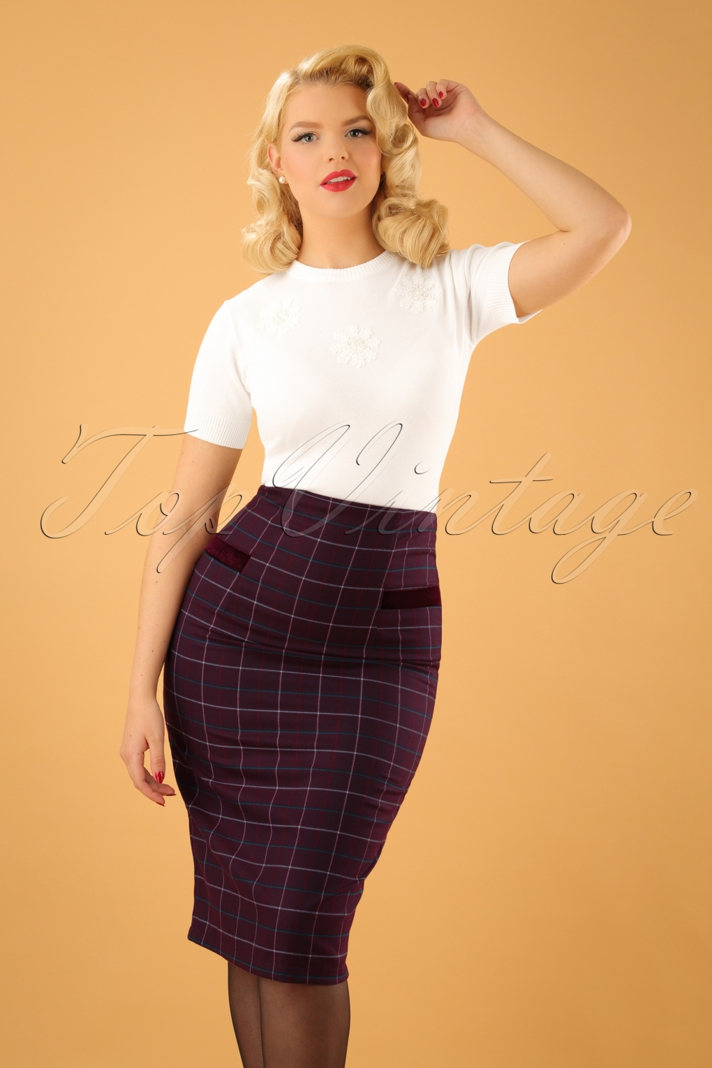 40s maddy pencil skirt in aubergine