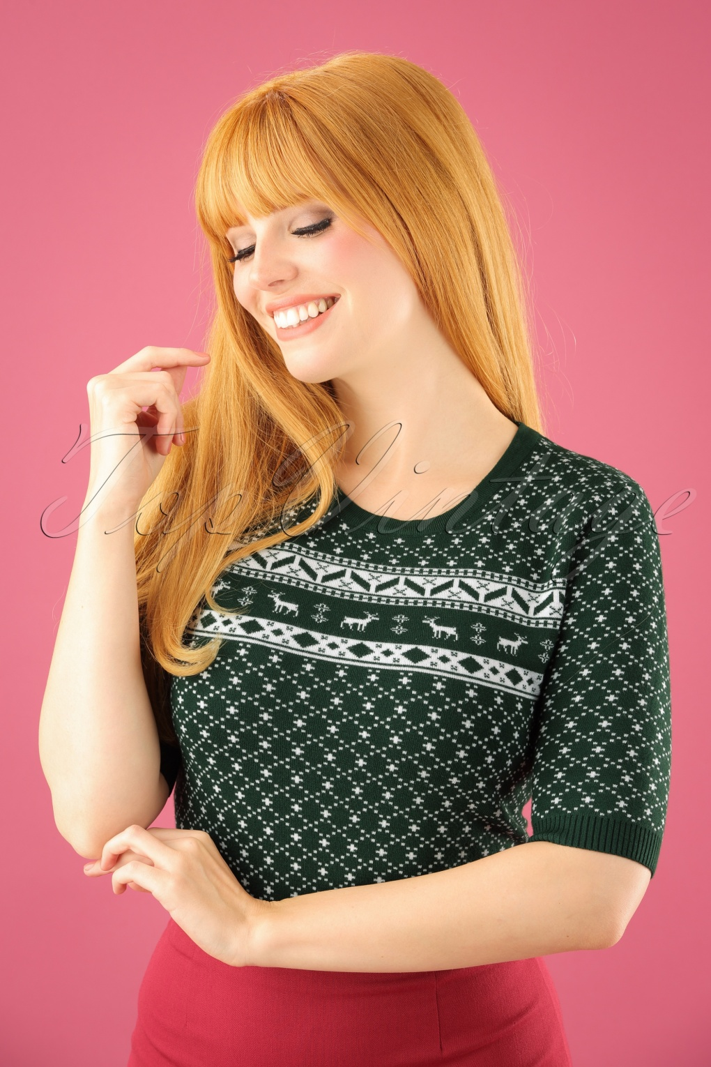 Vintage Sweaters: Cable Knit, Fair Isle Cardigans & Sweaters 50s Paige Top in Forest Green £33.73 AT vintagedancer.com