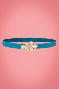 20s Pearl Clasp Waist Belt in Blue