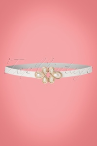 20s Pearl Clasp Waist Belt in White