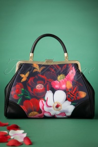 50s Glorious Floral Retro Handbag in Black
