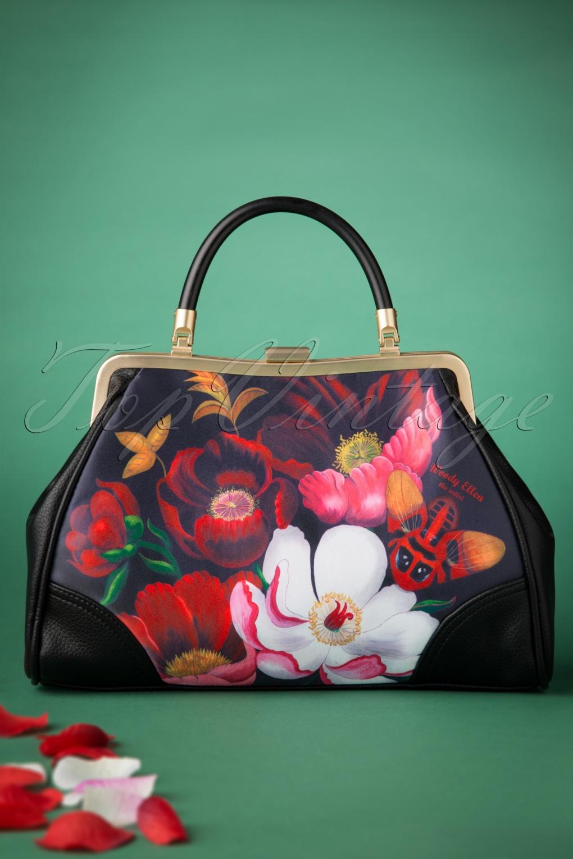 Vintage Handbags, Purses, Bags *New* 50s Glorious Floral Retro Handbag in Black £24.95 AT vintagedancer.com