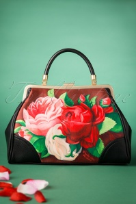 50s Red Paris Floral Retro Handbag in Brown