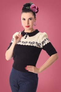 40s Berit Bow Jumper in Black and Cream