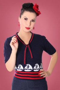 40s Mirlinda Jumper in Marine and Red